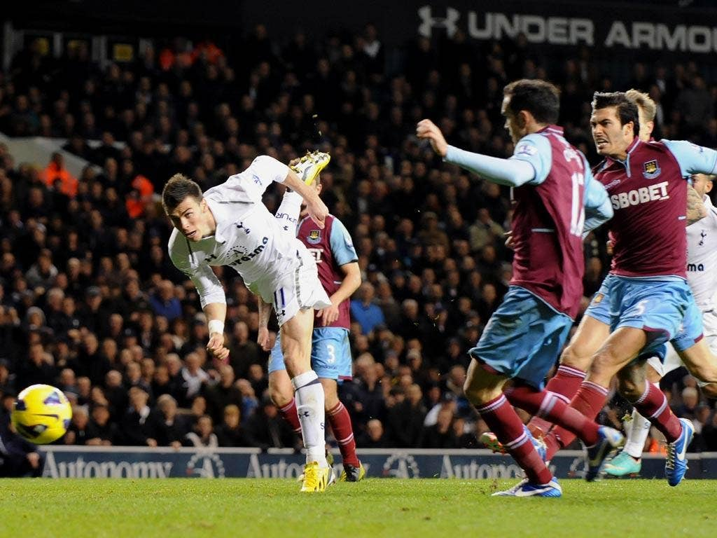 Gareth Bale pictured against West Ham