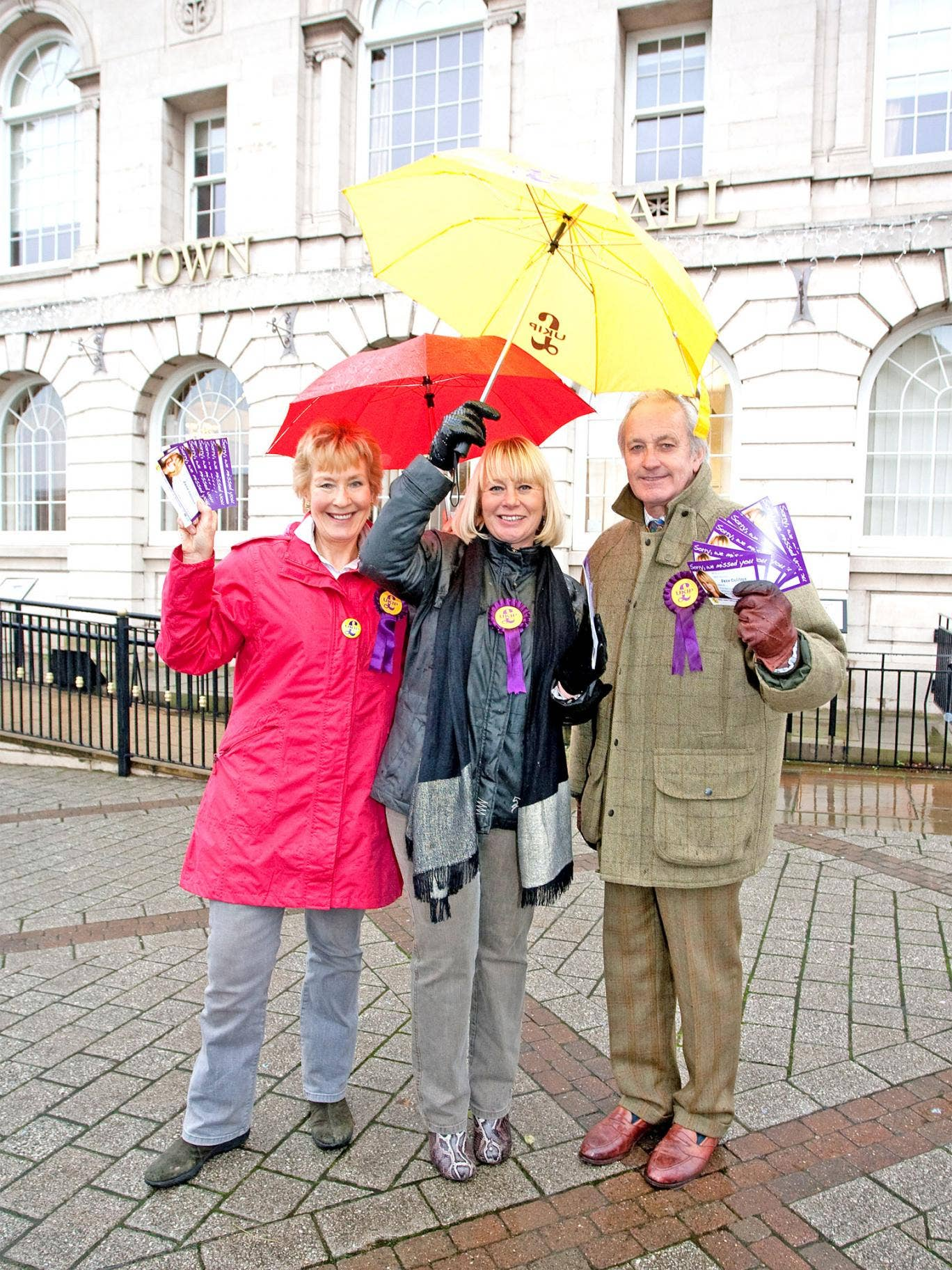 Neil and Christine Hamilton with Ukip candidate Jane Collins in Rotherham