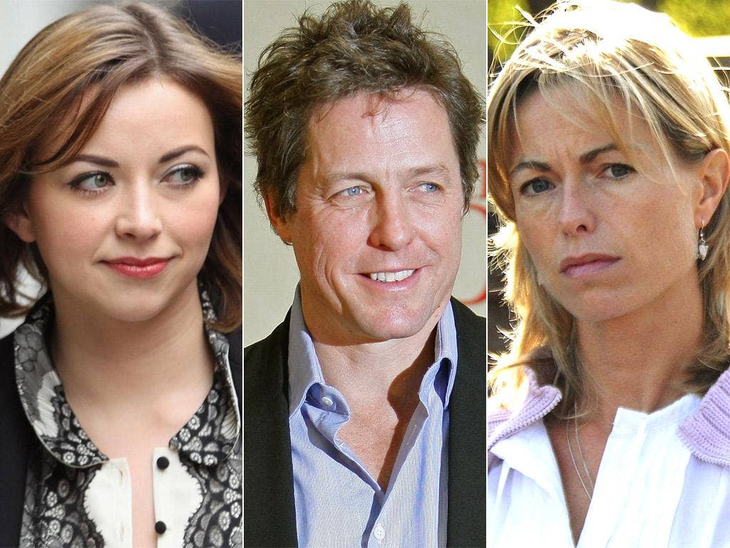 Charlotte Church, Hugh Grant and Kate McCann,