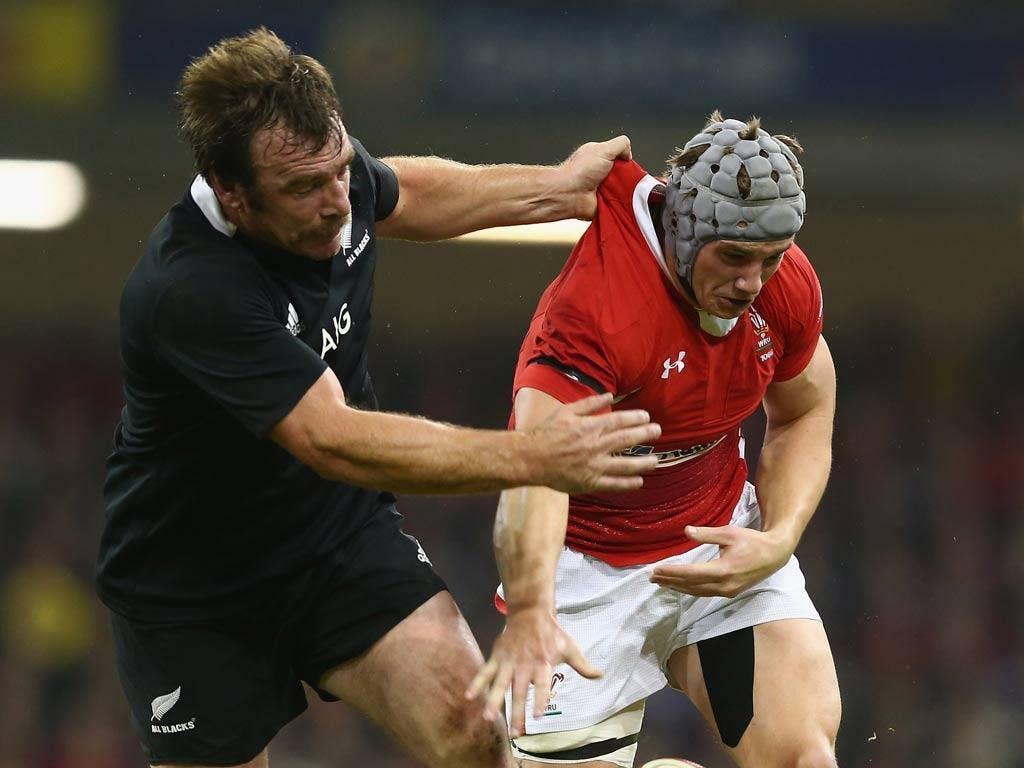 Andrew Hore (left) in action against Wales