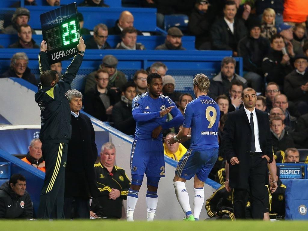 Misfiring Fernando Torres has been favoured over Daniel Sturridge