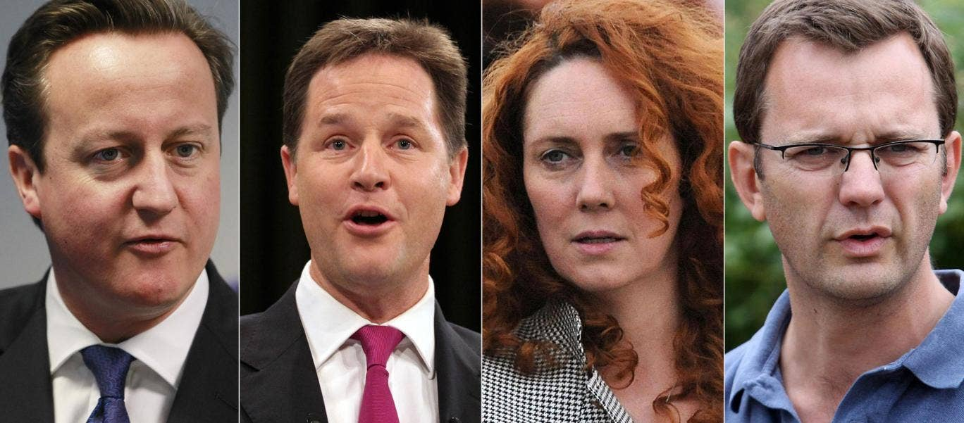 David Cameron, Nick Clegg, Rebekah Brooks and Andy Coulson