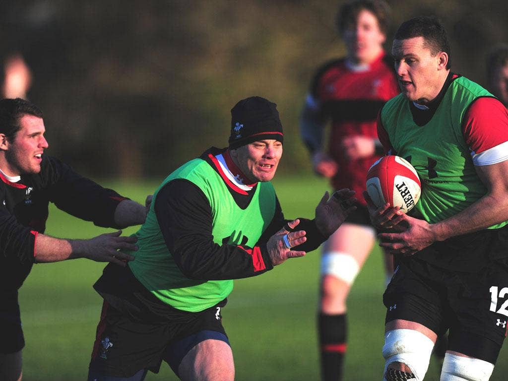 Wales forward Matthew Rees in action during yesterday's training session