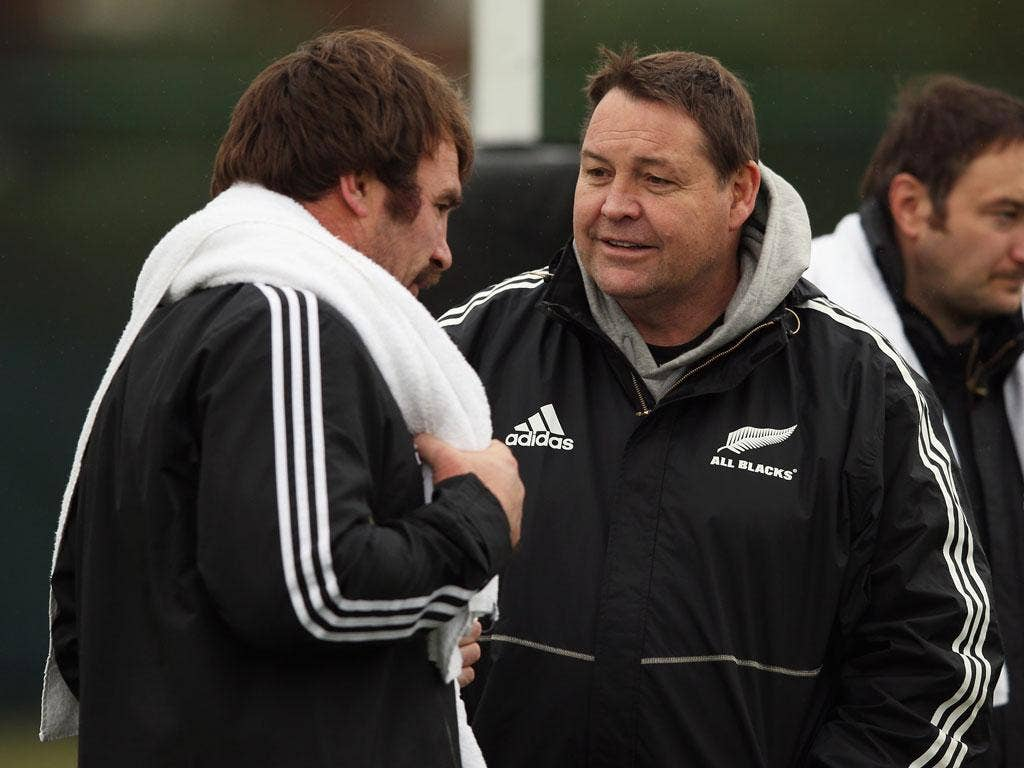 Andrew Hore (left) talks with All Blacks coach Steve Hansen