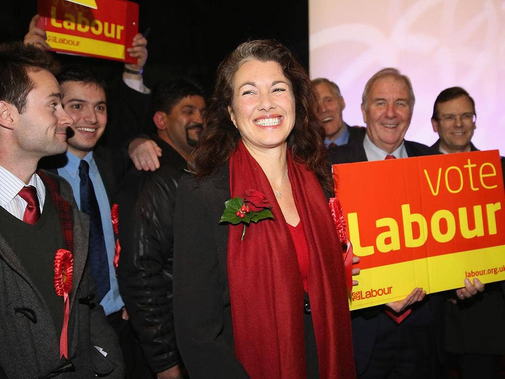 Labour's newly elected Member of Parliament Sarah Champion smiles as she is declared the winner of the Rotherham by-election. UKIP candidate Jane Collins finished second