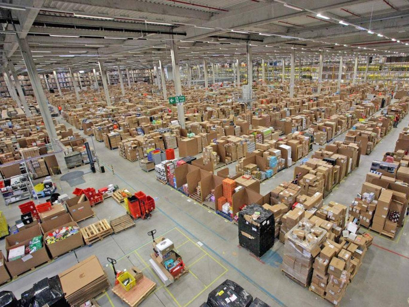 Amazon's giant distribution centre near Swansea, one of eight in the UK