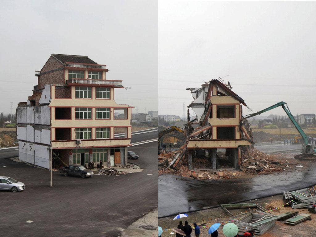 The five-storey middle-of-the-road home has now been bulldozed