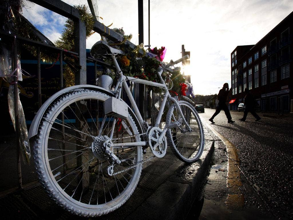 Dead end: A cyclist killed on the road is commemorated with a ghost bike
