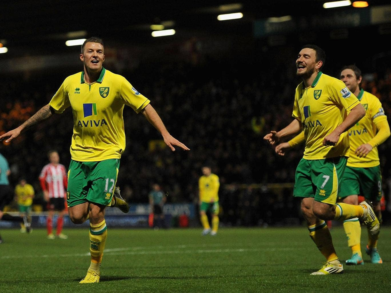 Anthony Pilkington of Norwich celebrates his side's second goal