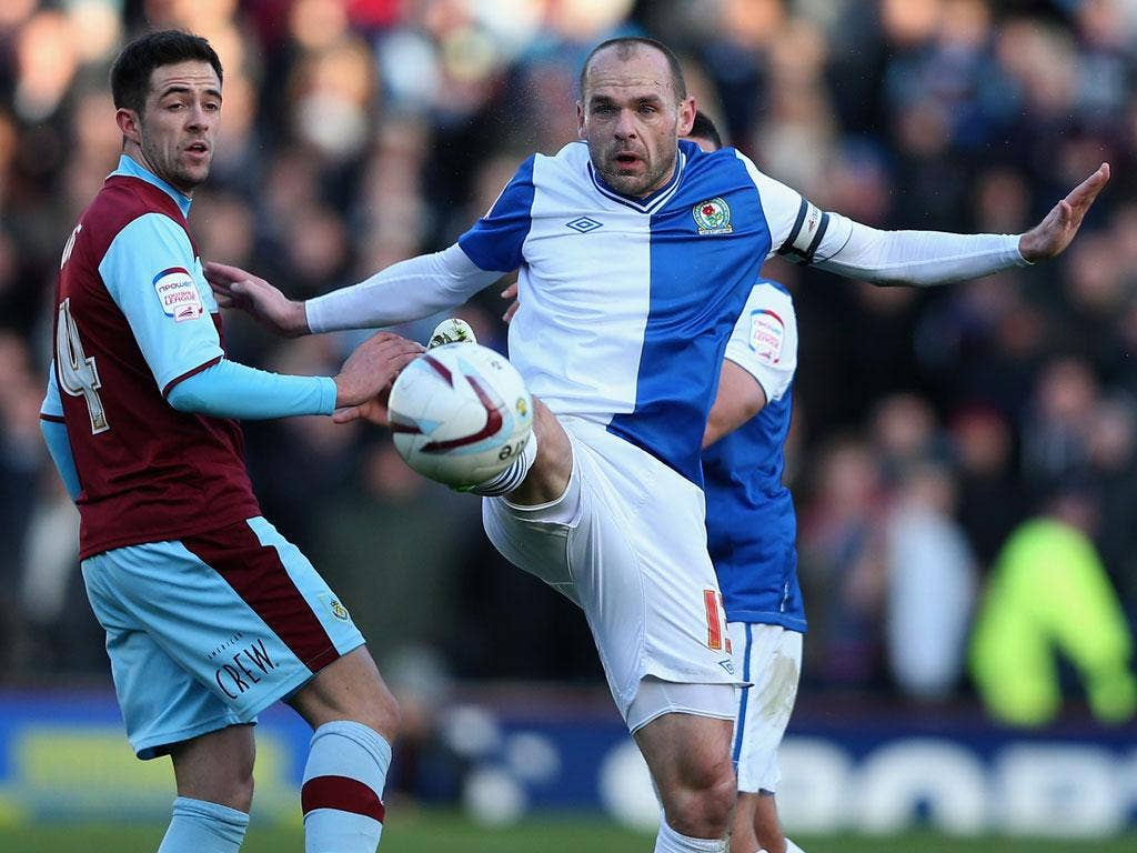 Blackburn captain Danny Murphy in action during yesterday's east Lancashire derby
