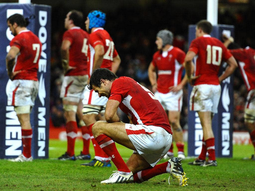 Mike Phillips shows the anguish of Wales' narrow defeat by Australia