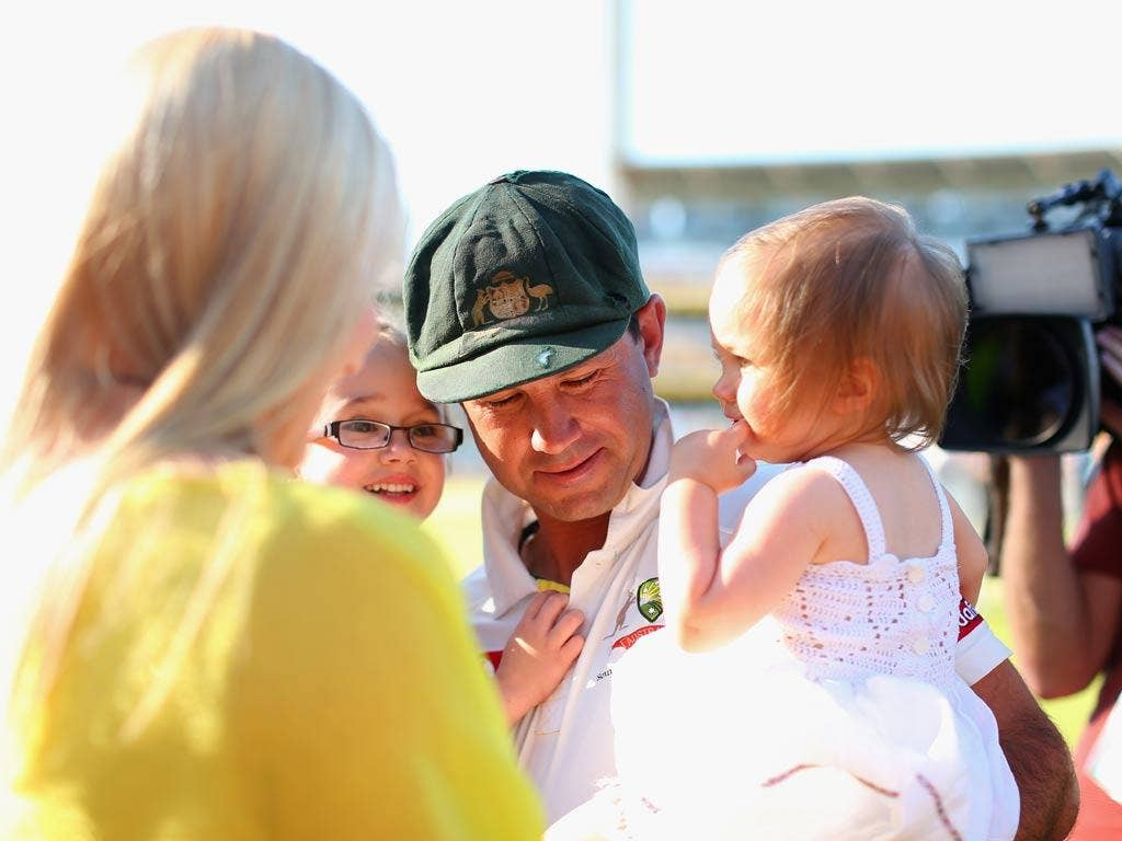 Ricky Ponting of Australia greets his wife Rianna, and daughters