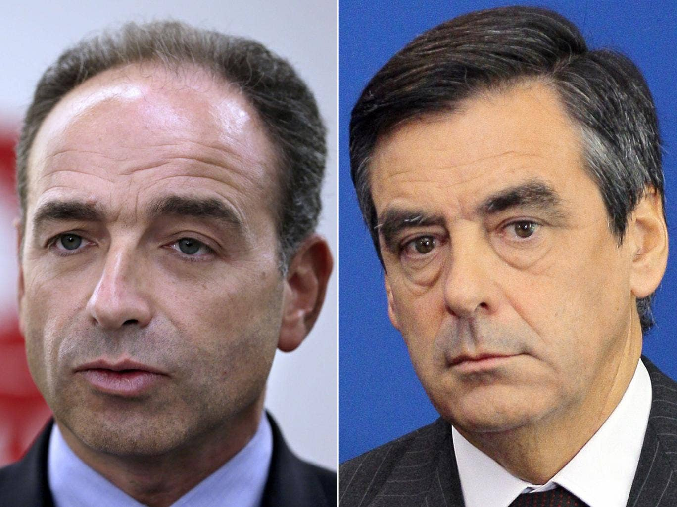 Newly-elected President of the right-wing UMP opposition party, Jean-Francois Cope(l), who beat former Prime Minister, Francois Fillon (r) in a shambolic battle to lead France's right-wing opposition.