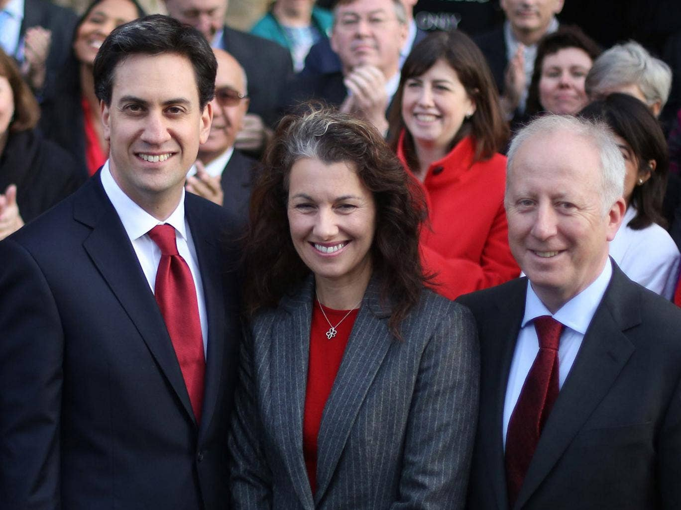 Ed Miliband, with two of last week's by-election victors, Sarah Champion and Andy McDonald