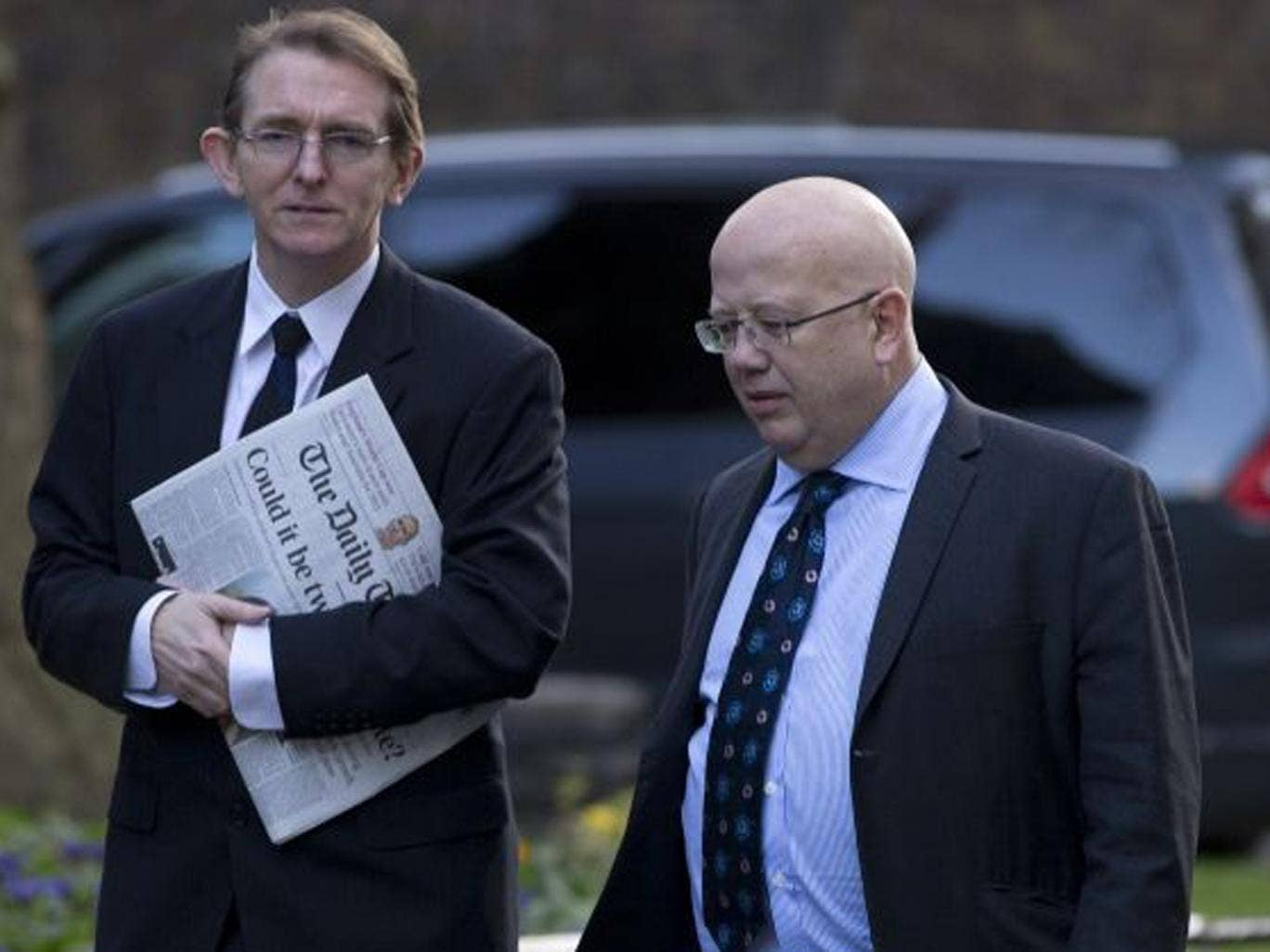 Editor of The Independent Chris Blackhurst, right, arrives for the meeting with other newspaper editors and David Cameron alongside Telegraph editor Tony Gallagher