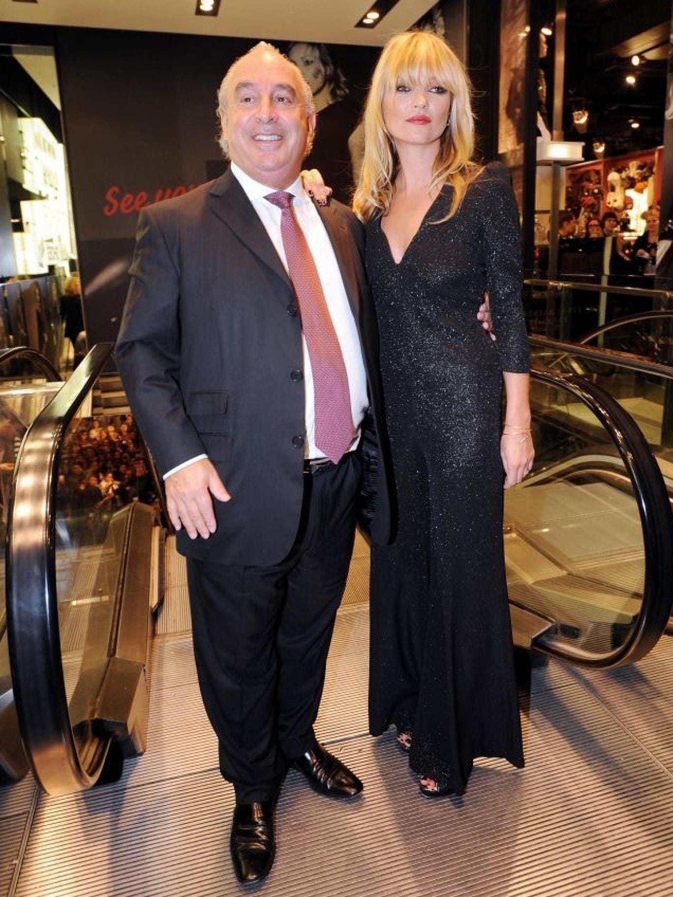 Sir Philip at Topshop's flagship Oxford Street store with model Kate Moss
