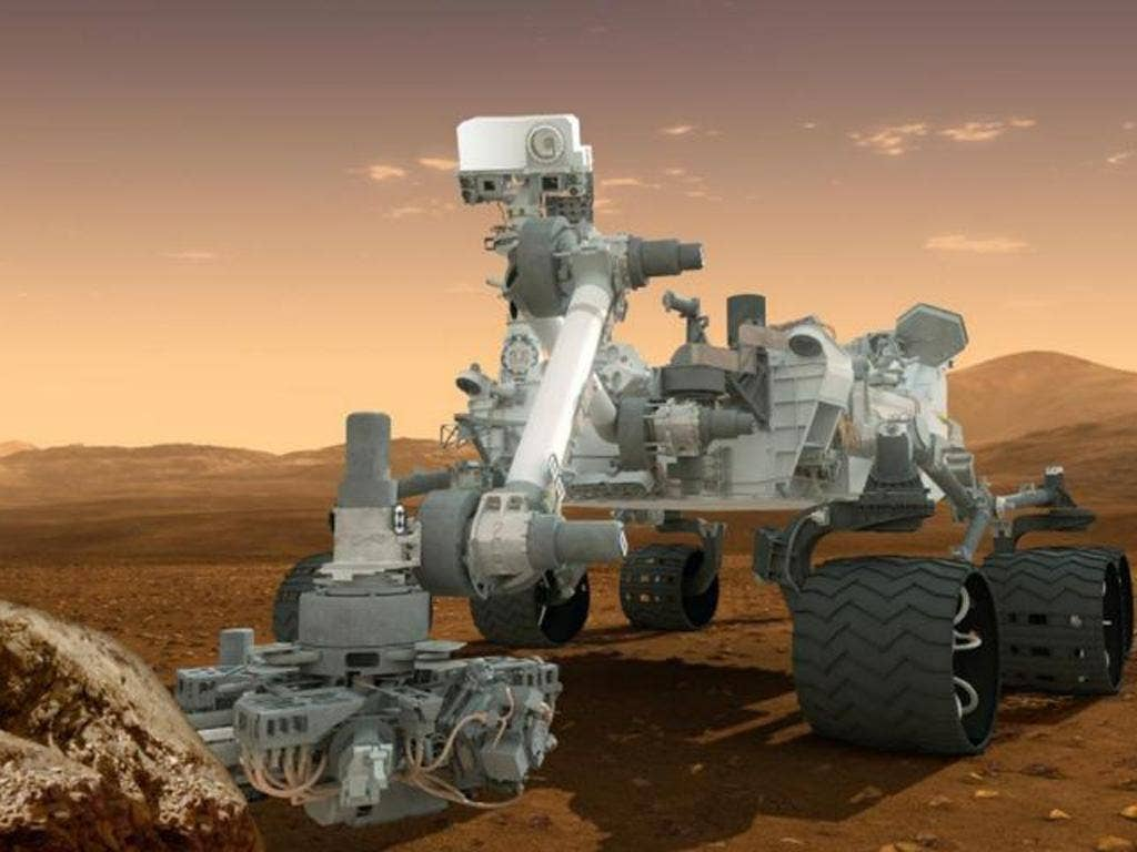 An artist's rendering of the current Curiosity rover on Mars' surface