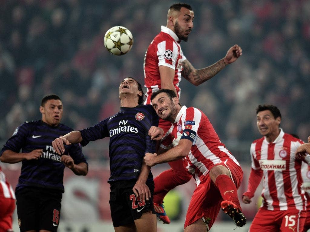 Arsenal in action against Olympiakos
