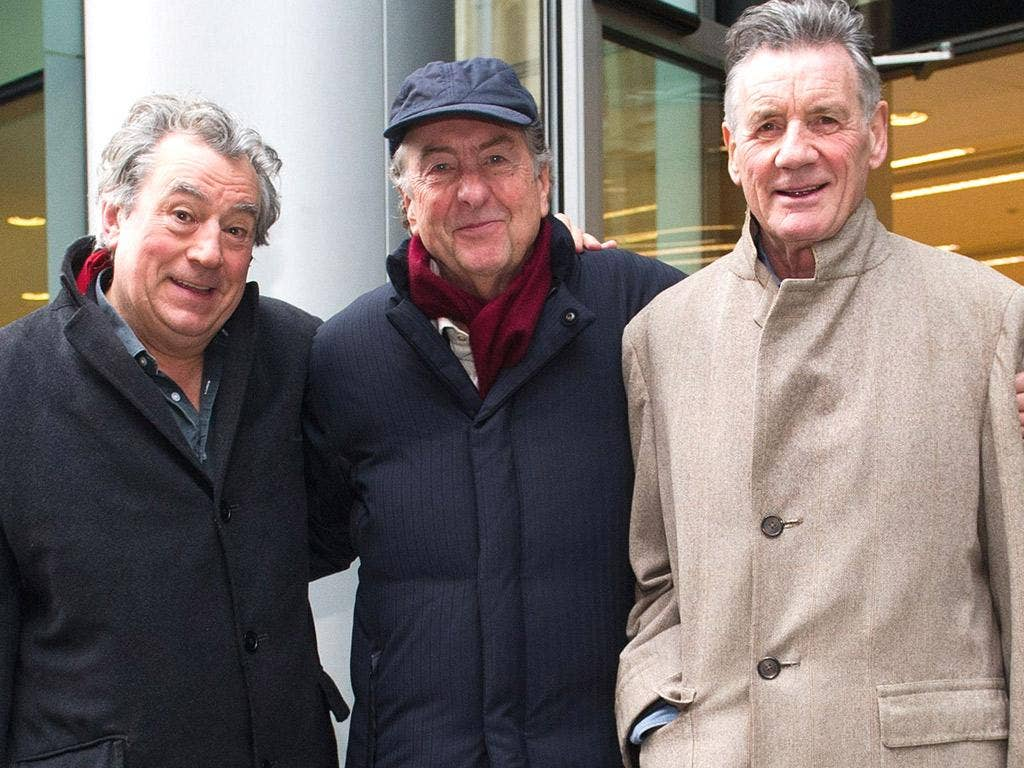 Terry Jones, Eric Idle and Michael Palin outside the High Court