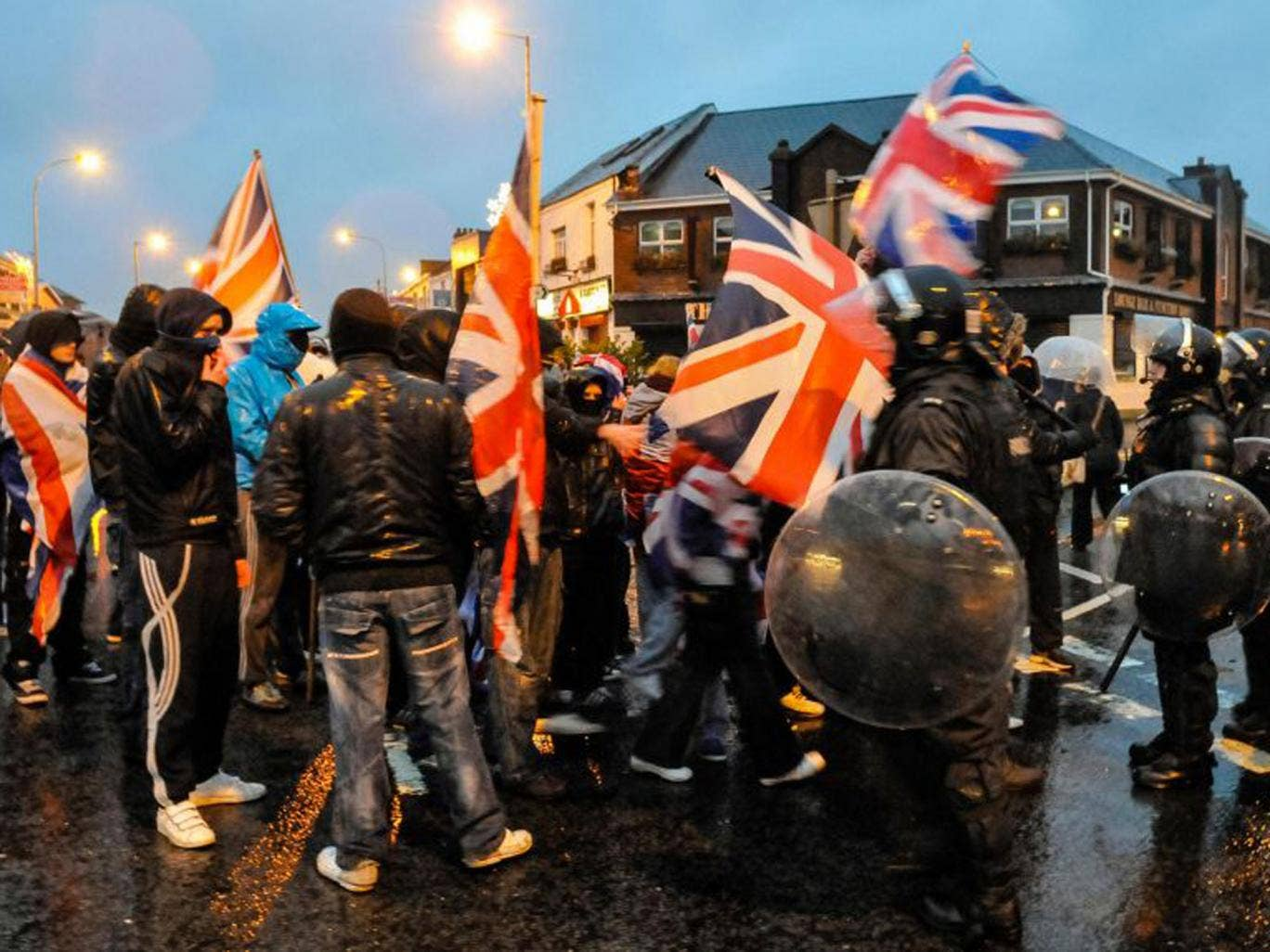 Loyalists in Glengormley protest against the Union Flag being removed from Belfast city hall