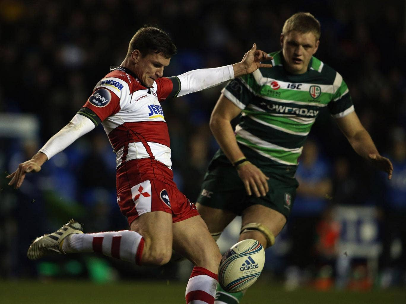 Putting the boot in: Gloucester's Freddie Burns, who scored 24 of his side's points, gets another kick away