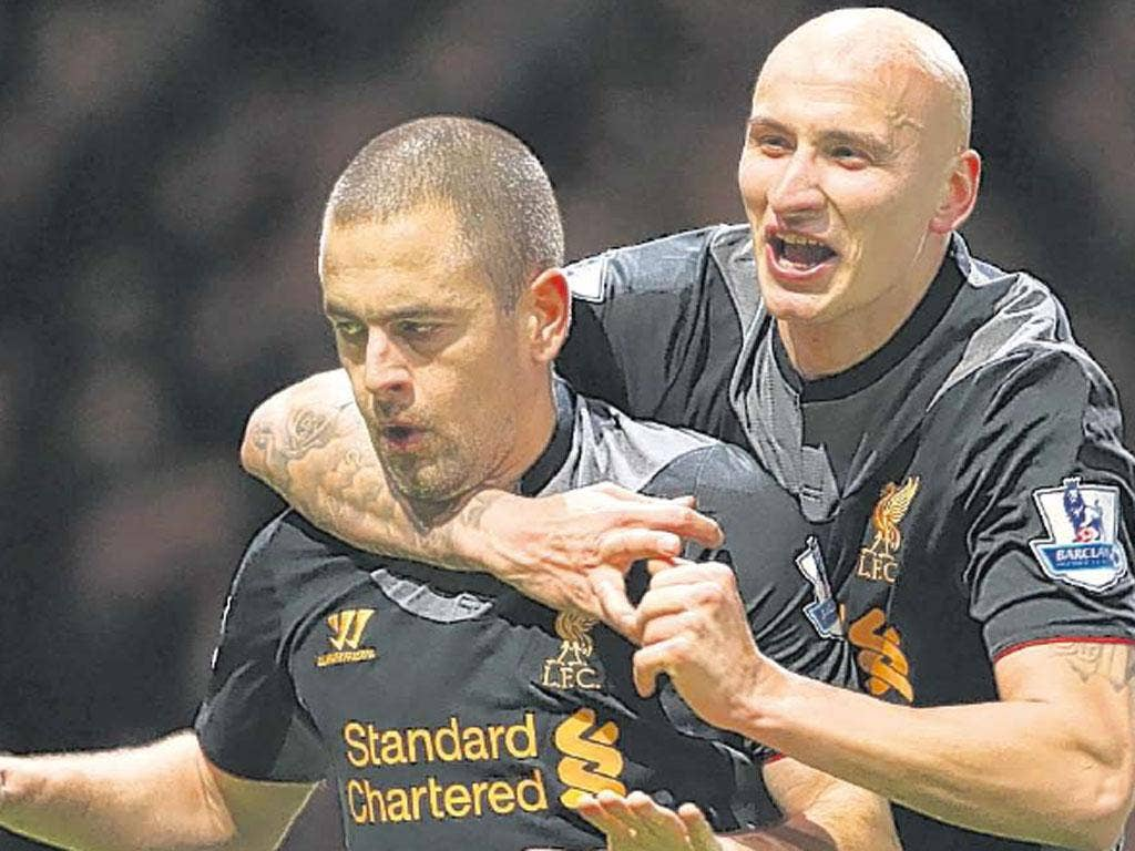 Ex-West Ham player Joe Cole is muted in celebration of his goal with Jonjo Shelvey