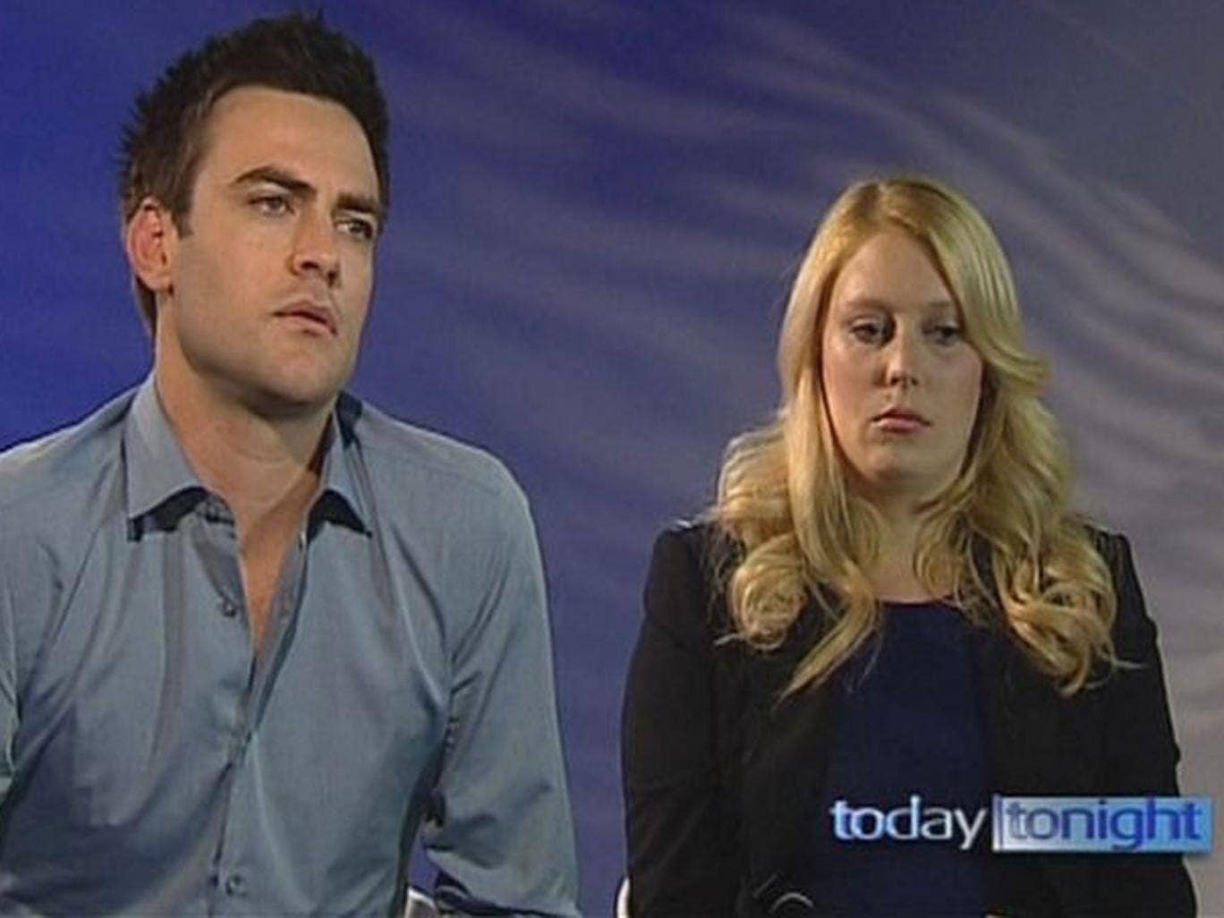 Sydney-based 2DayFM radio presenters Michael Christian (L) and Mel Greig speak during an interview with Seven Network's current affairs program Today Tonight