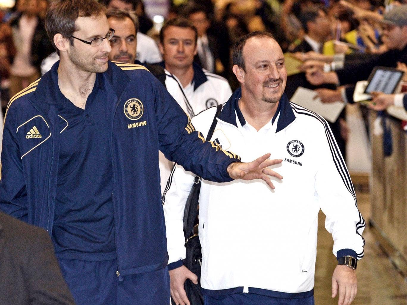 Rafa Benitez and Chelsea were greeted by adoring fans on arrival in Japan