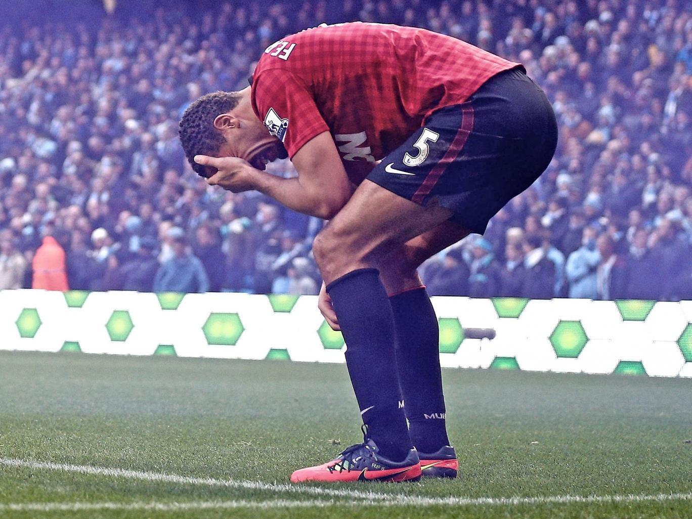 Rio Ferdinand bleeds during Sunday's Manchester derby