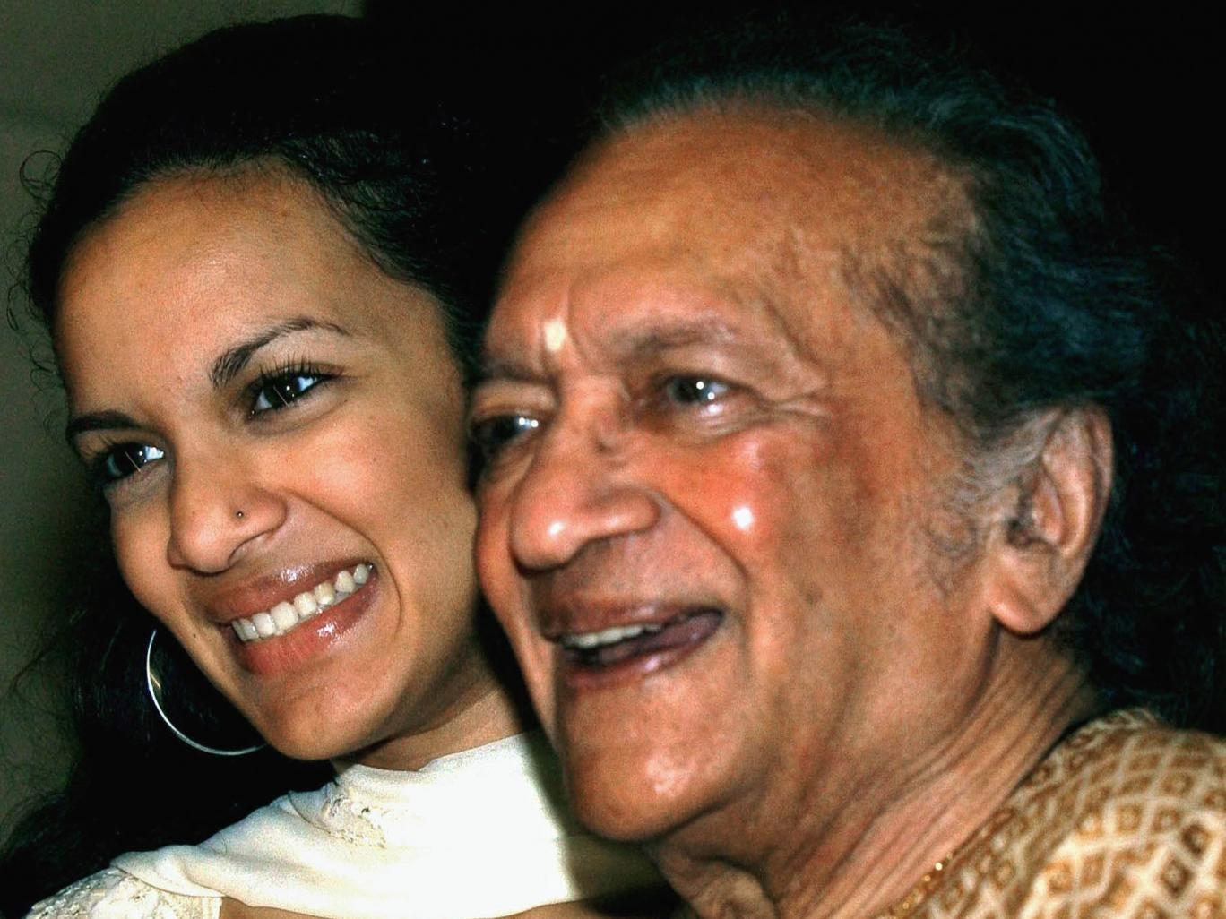 Sitarist and composer Ravi Shankar with daughter Anoushka Shankar