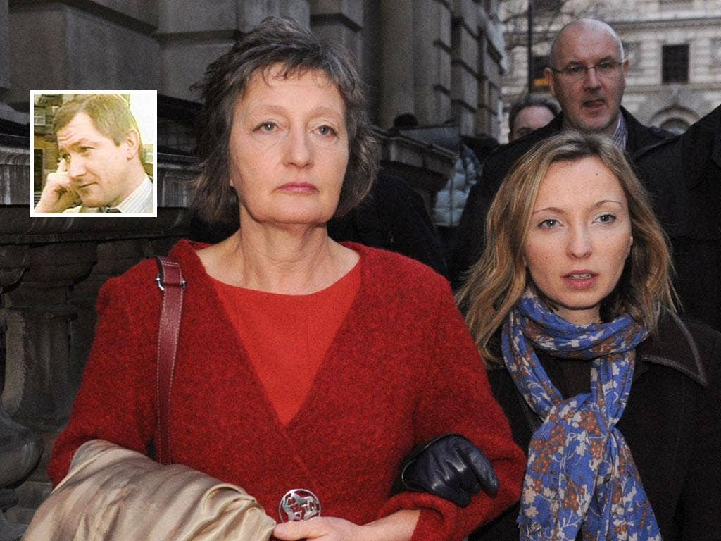 Pat Finucane's widow Geraldine arrives with her daughter Katherine at the Houses of Parliament in central London to read the review of the report into the loyalist murder of Belfast solicitor Pat Finucane (inset)