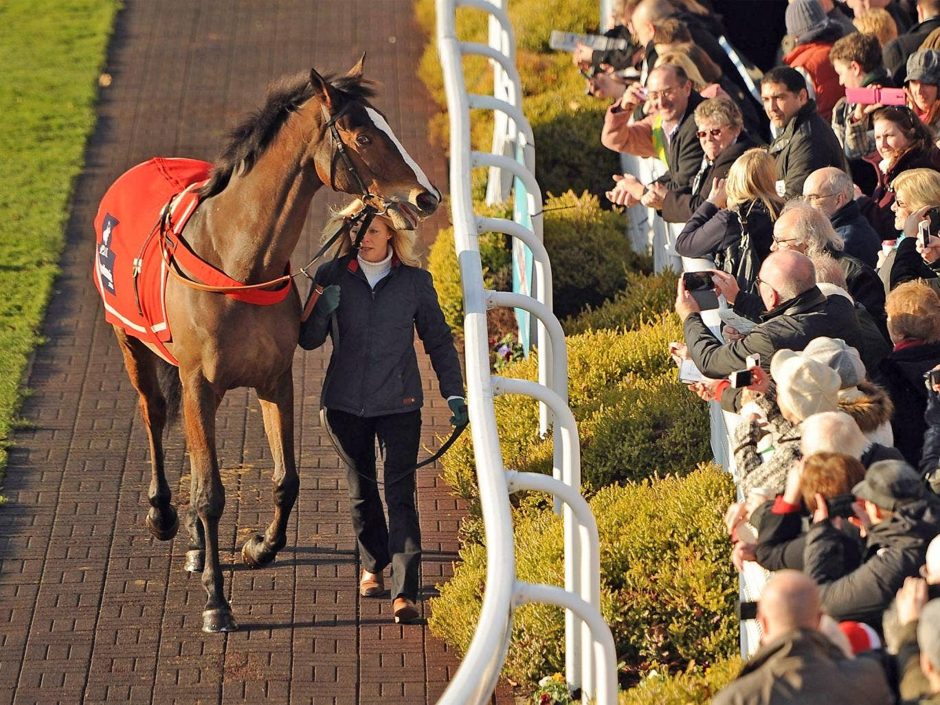 Kauto Star parades at Sandown last Saturday. The atmosphere at Kempton on Boxing Day may be strained