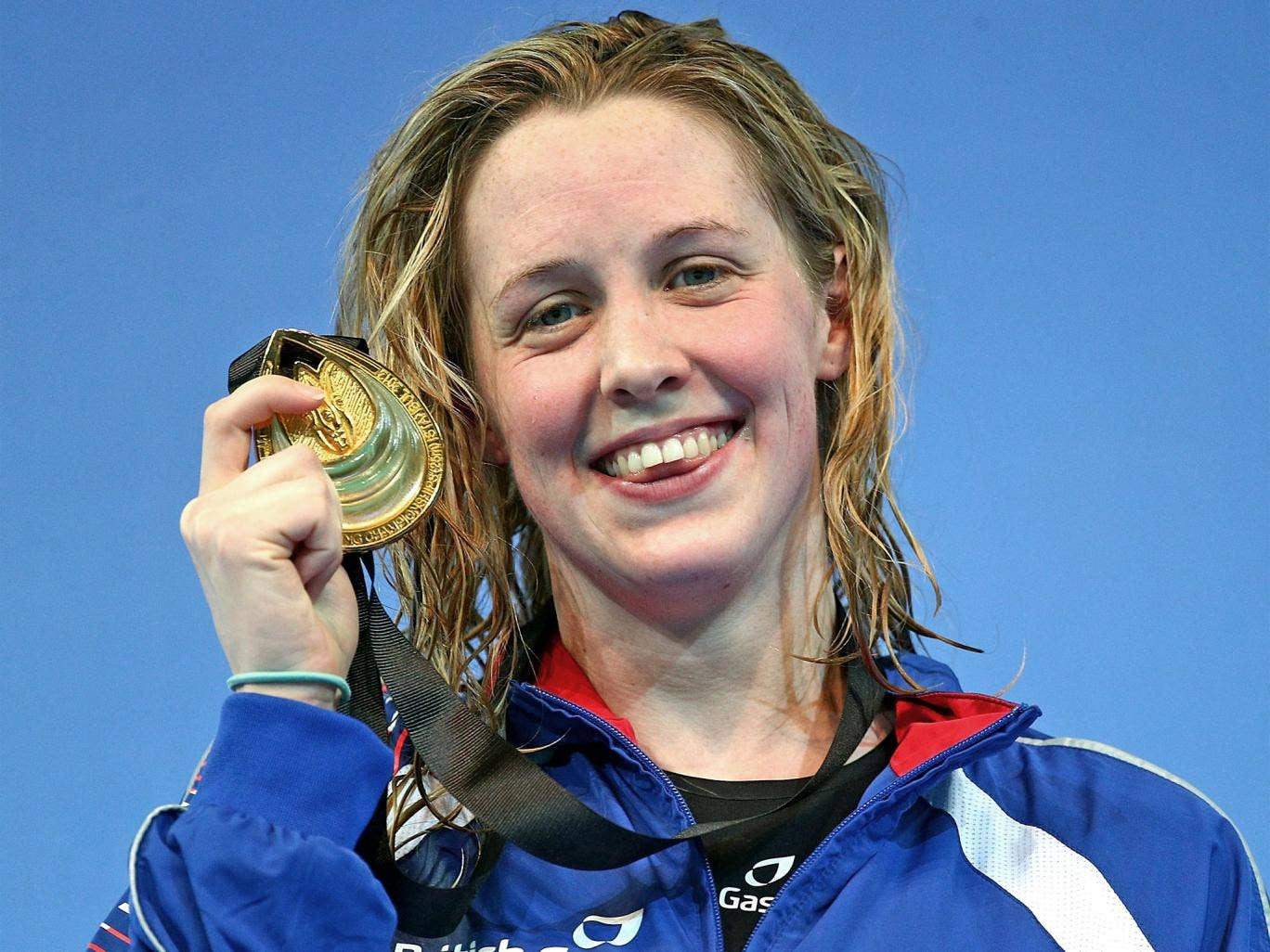 Hannah Miley shows off her gold medal in Istanbul yesterday