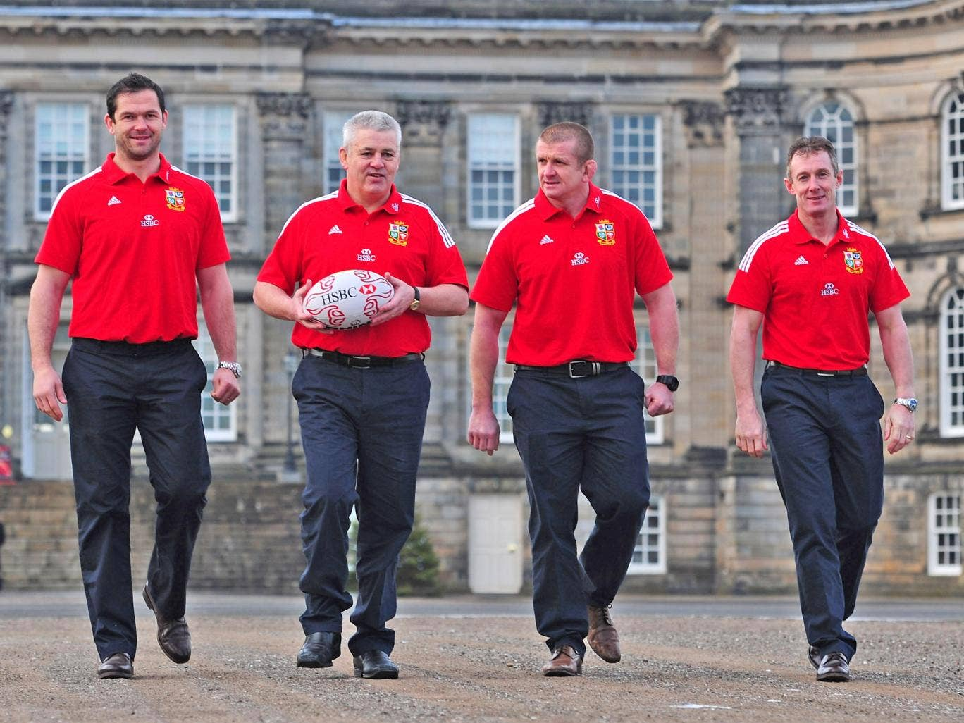 The head coach for the British and Irish Lions' tour of Australia next year, Warren Gatland (second right) with the coaching team he announced yesterday, (from left) Andy Farrell, Graham Rowntree and Rob Howley