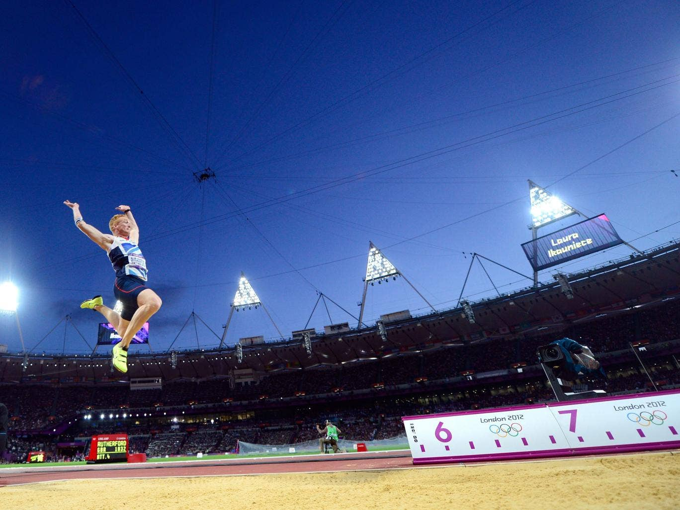 Greg Rutherford on his way to winning gold in the long jump in London