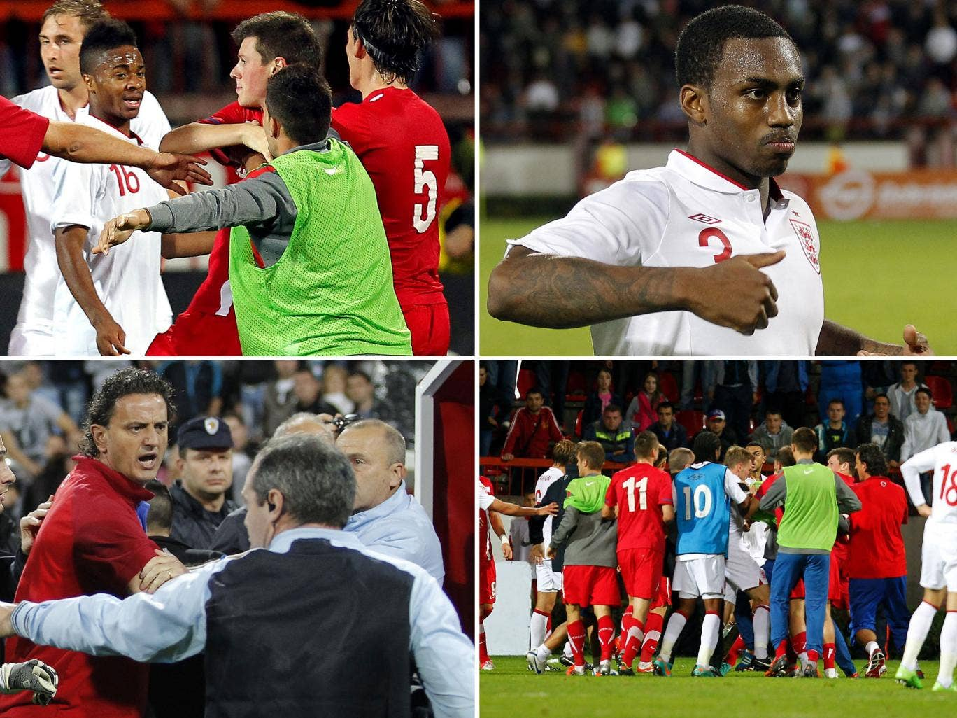 Clockwise from top left: Raheem Sterling amid the fracas, Danny Rose mimics the fans' taunts, the squad players enter the fray and Serbian assistant coach Dejan Govedarica struggles to separate his players