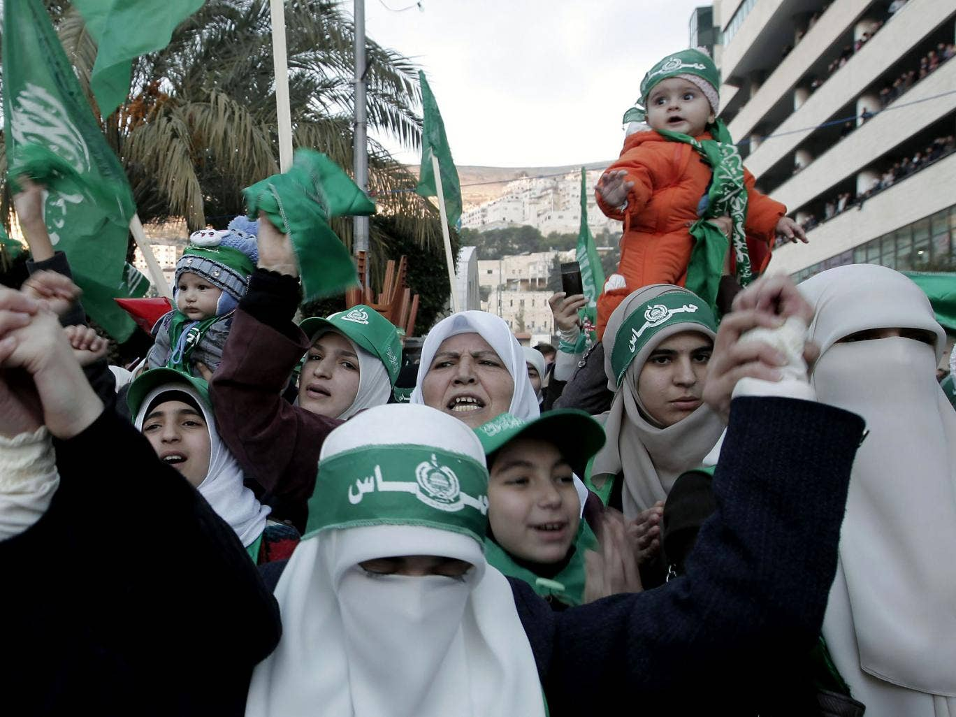 Thousands gathered for the militant Islamist group's first permitted rally in the West Bank in five years