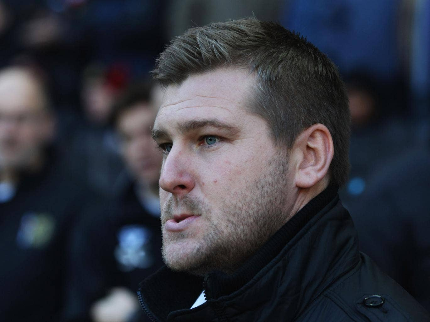 Karl Robinson manager of MK Dons looks on prior to the FA Cup with Budweiser Second Round match between MK Dons and AFC Wimbledon