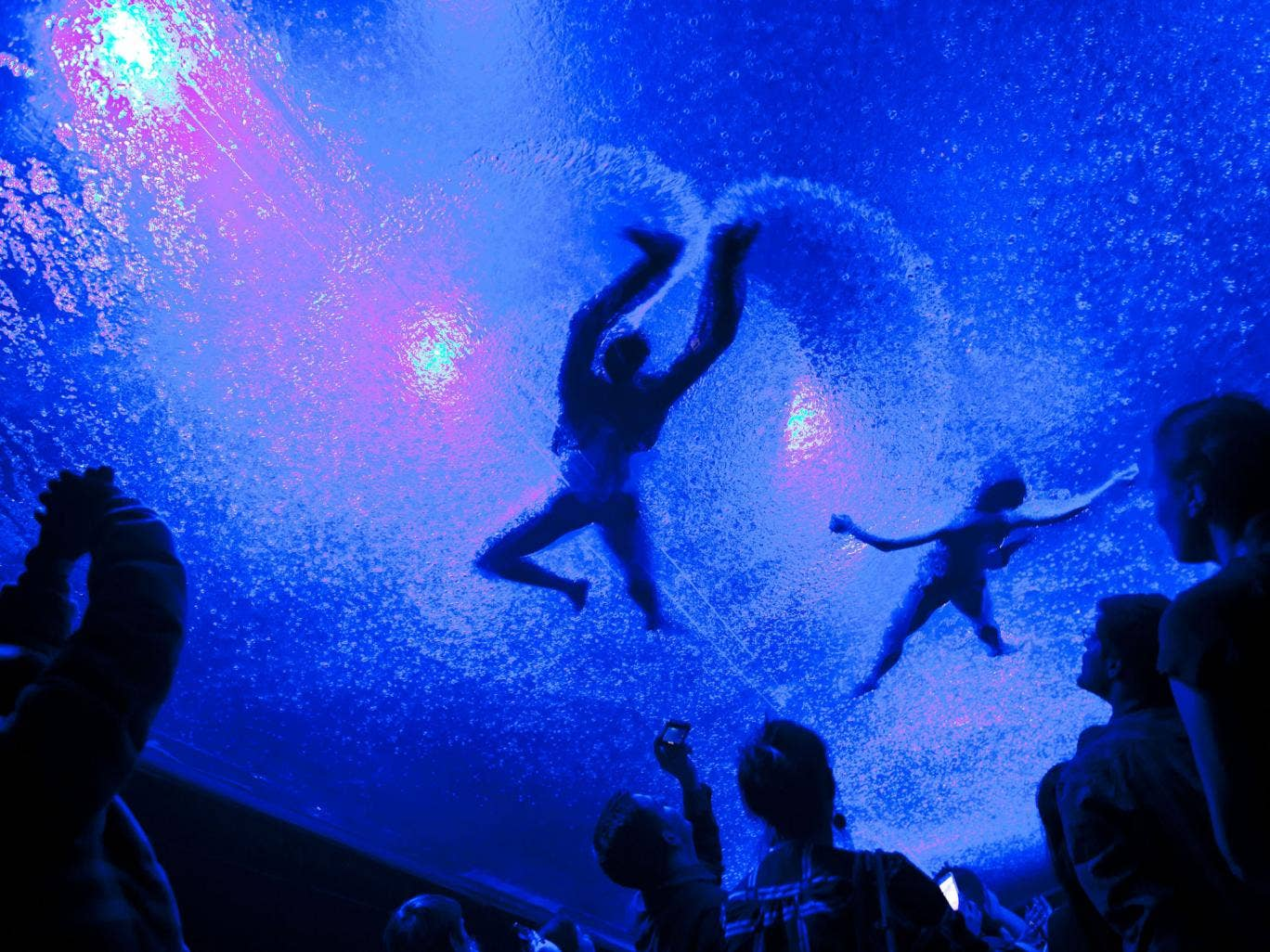 Splash hit: Fuerzabruta's audience in New York looks up at a swimming cast