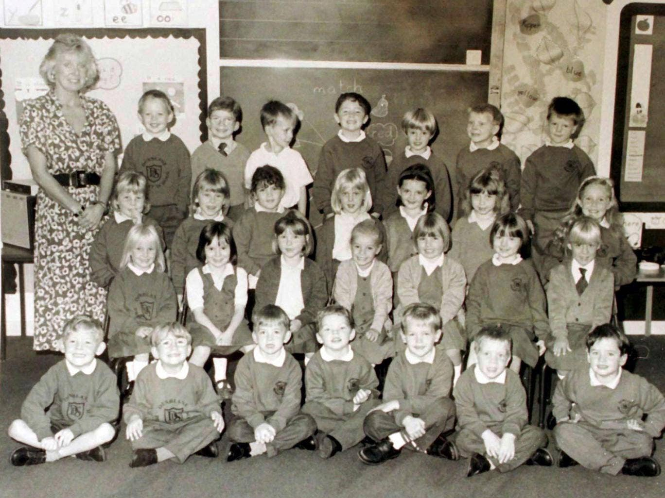 Gwenne Mayor, far left, was shot dead with 16 of her primary class in Dunblane in 1996