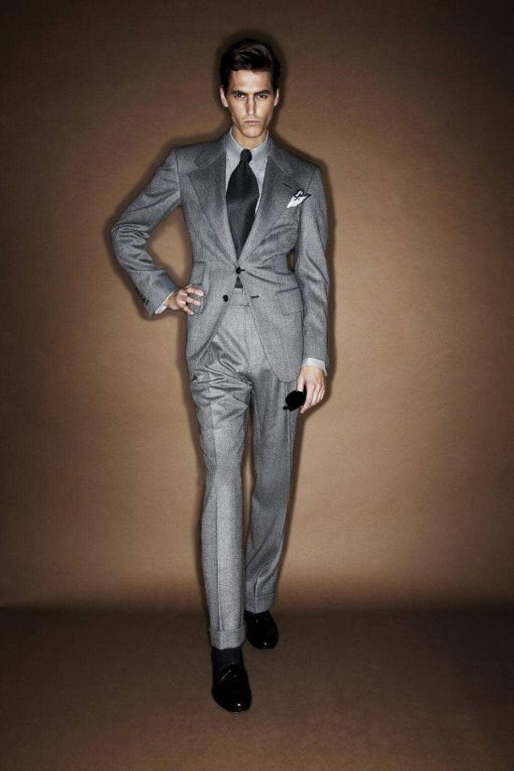 If you're uncertain as to colour, a grey suit is a no-brainer. Carlyle suit £2,950, all Tom Ford, tomford.com