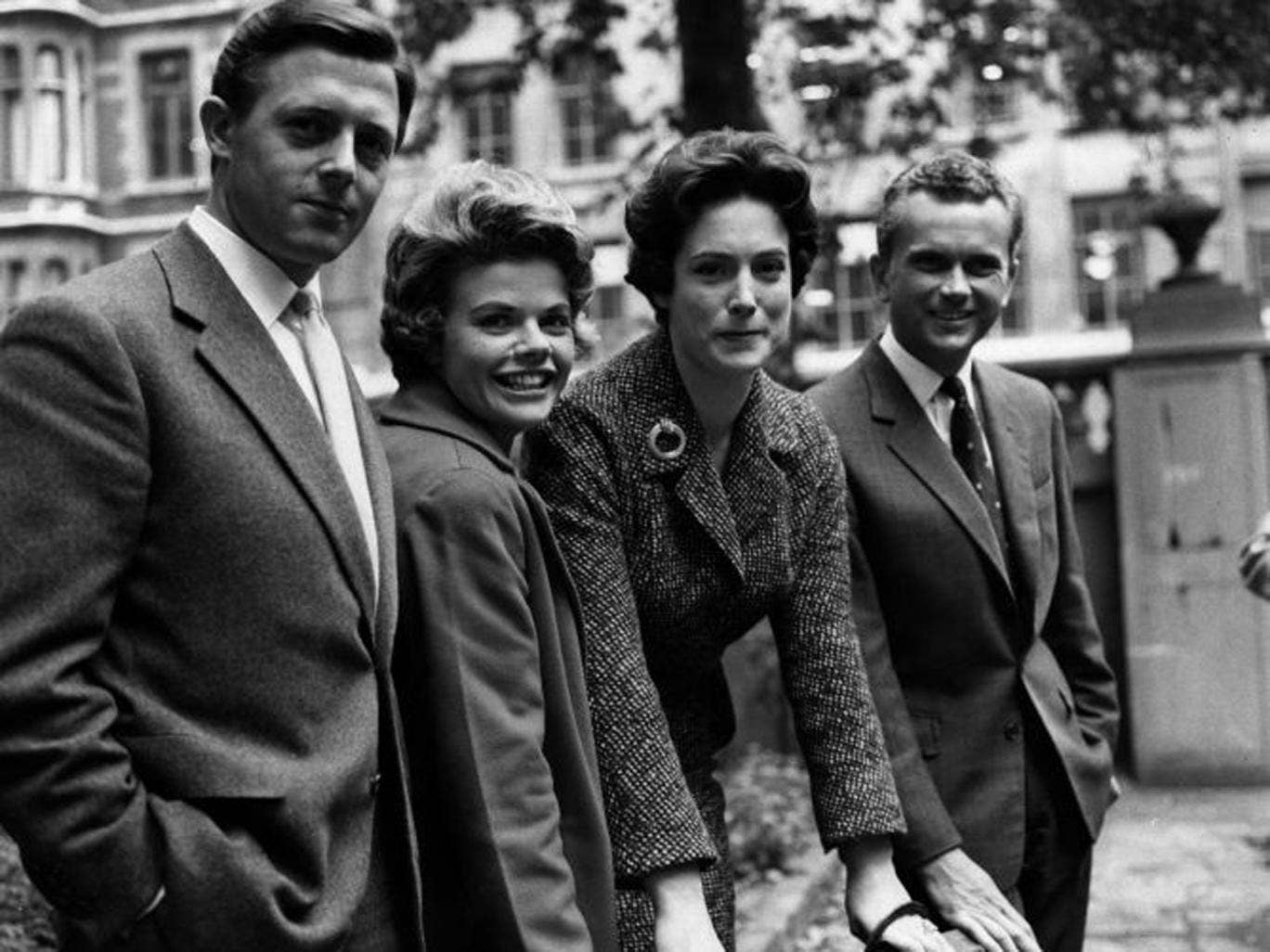 Kendall. right, in 1960 with BBC colleagues Michael Aspel, Judith Chalmers and Nan Winton