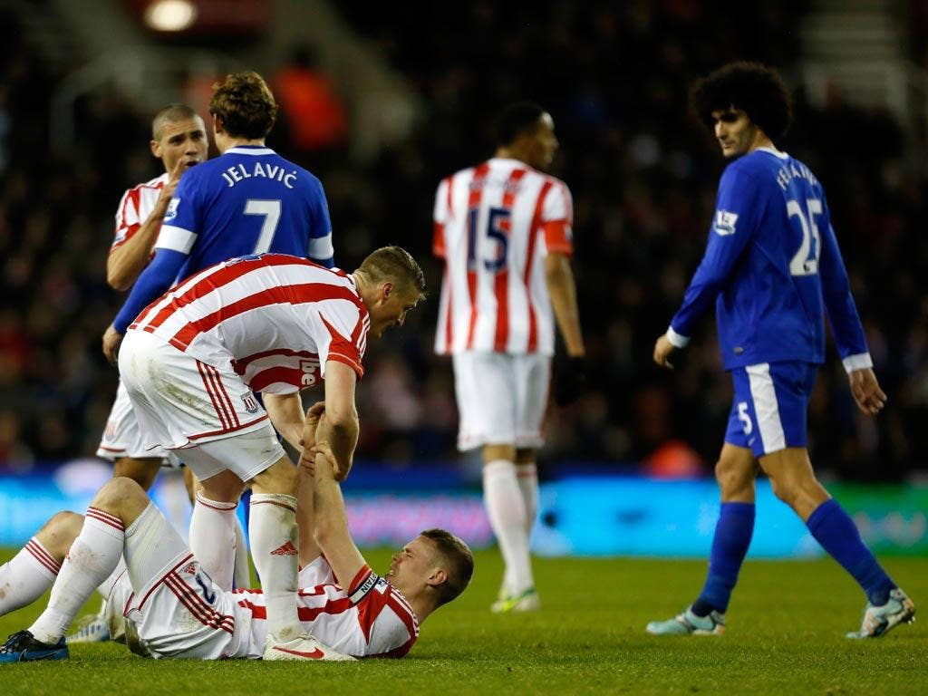 Marouane Fellaini was involved in an altercation with Ryan Shawcross