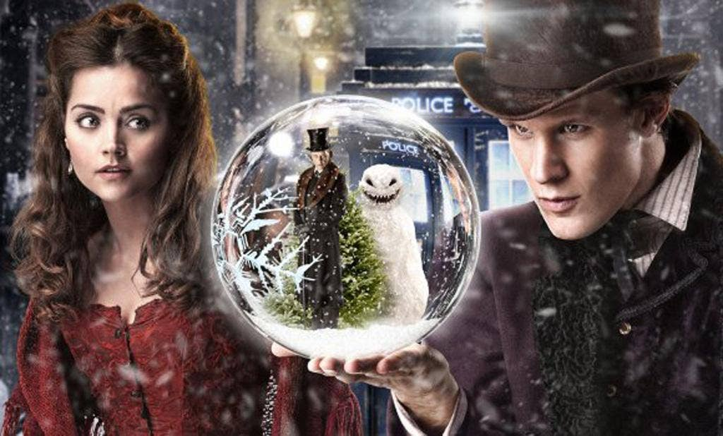 Jenna-Louise Coleman and the Doctor in this year's Christmas special 'The Snowmen'