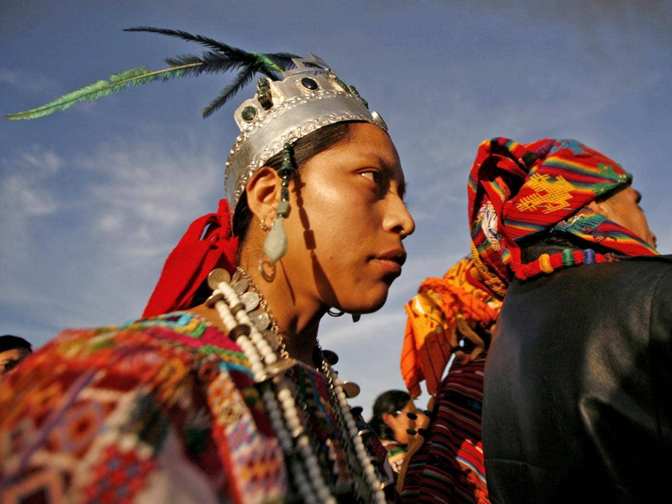 Indigenous Mayan people at a ceremony outside Guatemala City