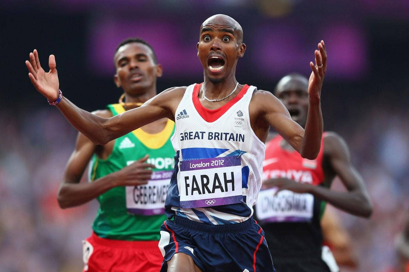 Mo Farah crossing the finishing line to win gold in the 5,000m final