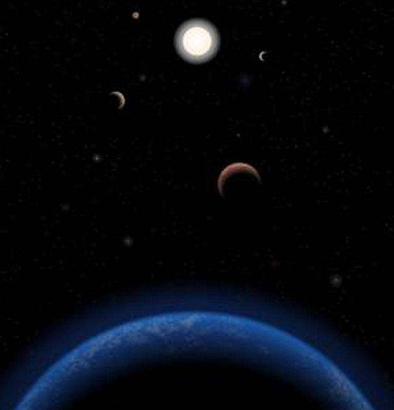 An artist's impression of the Tau Ceti planetary system