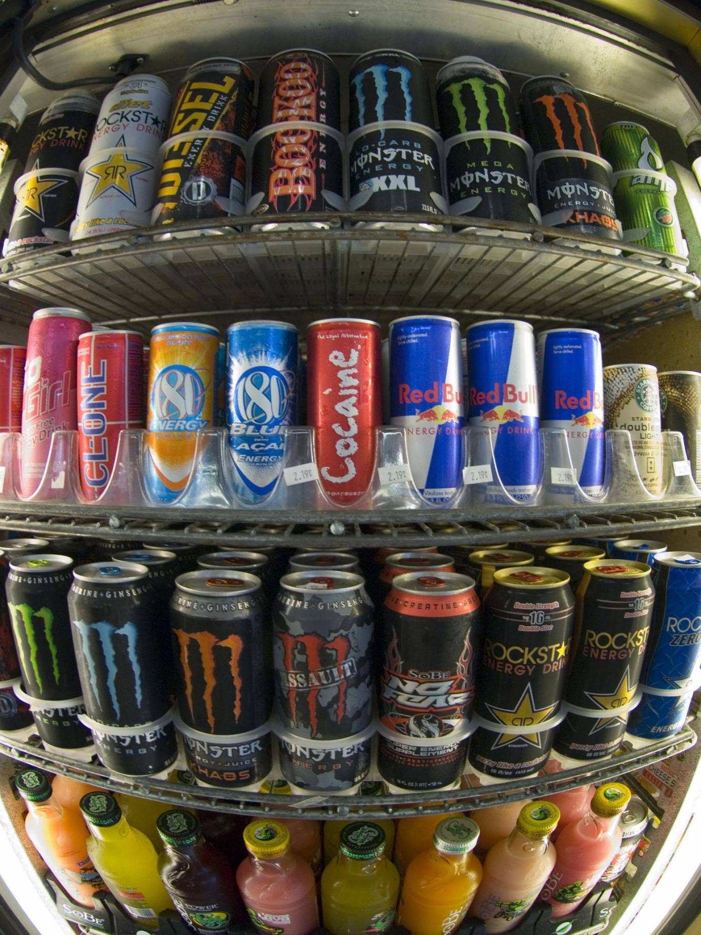Cans of energy drinks are displayed in a store in California. The kick from caffeine has a growing number of consumers jumping into energy drinks-soft drinks spiked with nutritional aids and stimulants despite warnings from health professionals.