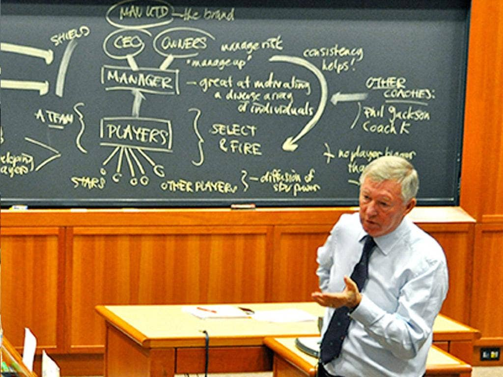 Sir Alex Ferguson gives his lecture to students at Harvard University