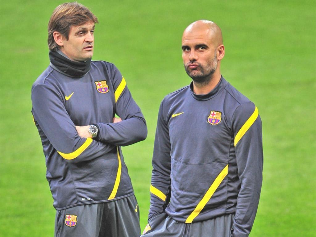 Tito Vilanova (left) took over from Pep Guardiola in June